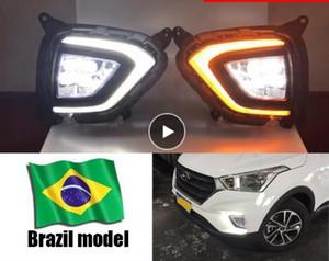 Brezilya modeli Hyundai Creta IX25 2019 2020 için sarı dönüm sinyal lambalı Işık sis lambası Kapak DRL Running DRL LED Gündüz