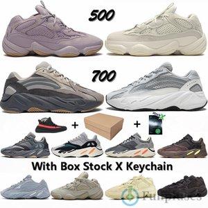 Adidas Yeezy Boost Mit Box 700 Static Teal Krankenhaus Blau Mauve Inertia Wave Runner Laufschuhe Kanye 500 Soft-Vision-Knochen-Weiß Designer-Sneaker Trainer