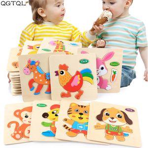 Bebé al por mayor juguetes de madera del rompecabezas 3D de dibujos animados de animales de Inteligencia Niños Cerebro Educación Teaser Niños Tangram Formas de aprendizaje Jigsaw