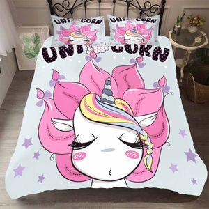 BEST.WENSD König Queen-Size-3d Einhorn Bettwäsche-Set Prinzessin Quilt Satz beding Bett nette rosa Winter Bett Bettdecke Cartoon