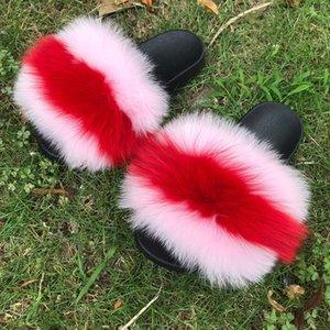 Verano planeadores real zapatillas de piel de zorro nueva esponja piel mixta Slipers de manera de las mujeres