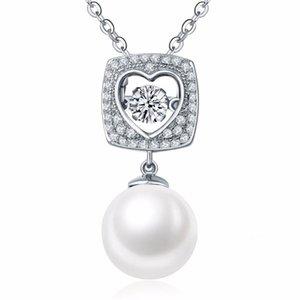 Güzel Charms kolye% 100 Gerçek 925 Gümüş Takı Dans Elmas İnci Kalp Dangle kolye kolye İçin Kadınlar