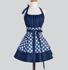 Blue Black Gingham Retro aventa Mulher Cotton Cozinhar Salon Avental De Cozinha Divertido Pinafore Avental Vestido Vintage