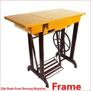 올드 스타일 발 바느질 기계 프레임 테이블 가정용 재봉틀 테이블 보드 랙 2 서랍 두꺼운 옷감 기계