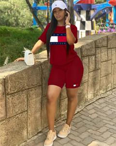 Frauen Designer Marke 2 Stück Set Outfit Fitness Running T-Shirt Rundhalsausschnitt Shorts Bodycon Leggings über dem Knie Sommerkleidung plus Größe 522