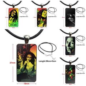 Dikdörtgen kolye Takı Bob Marley Lion Rasta Lion Reggae ile Kadın Kız kolye Moda Uzun Zinciri için