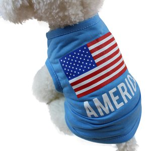 American Flag Print Cute Small Pet Vest Dog Cotton Clothing Small Puppy Costume Summer Cute Lovely Apparel T Shirt