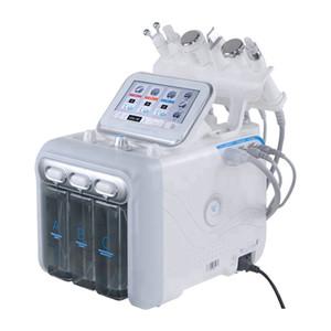 6 en 1 Oxígeno HydraFacial dermoabrasión máquina de chorro de agua Pelar la piel Hydra depurador de belleza facial de limpieza profunda de RF Cara de elevación Fría martillo