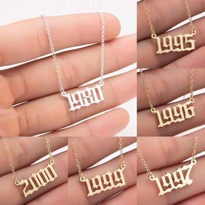 Custom Birth Year Number Necklaces Stainless Steel Personalized Women Initial Pendant Necklace Mens Special Birthday Jewelry Gifts