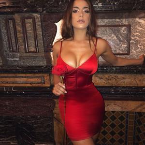 Diseñador de mujer Vestidos con cinturón con cuello en V Sexy Vestidos sin espalda Moda Color natural Vestidos sin mangas Vestidos Casual para mujer Ropa