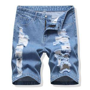 Shorts Mens New Style Estate denim lavato Shorts Mens Blu Pantaloni europeo e americano di Baggy jeans strappati
