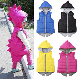 CYSINCOS Inverno Bambini Infant Dinosaur Vest Bambini Zipper Hooded Jacket Coat Outerwear Top Cute Baby Boy Girl cotone caldo Gilet