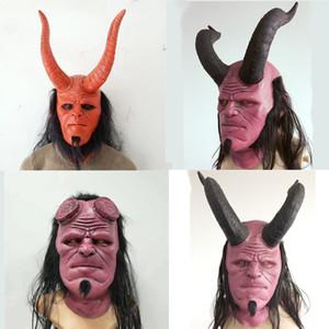 Las nuevas máscaras Hellboy Máscara infierno chico de arriba de la capilla Cosplay de Halloween miedo máscara de látex máscara de la Reina de Sangre cuerno de buey cara maske