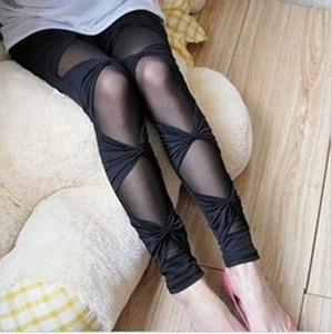 2014090603 2014 Spring Autmn Women Ripped Stretch Vintage Leggings Black Bow Bandage Sexy Sheer Stripes Patchwork Pants