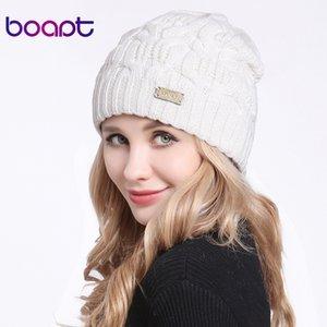 [boapt] Geometric Type Double layer Wool Knitted Female Winter Hat Fold Braid Cap Headgear For Women Hats Girls Skullies Beanies MX191130