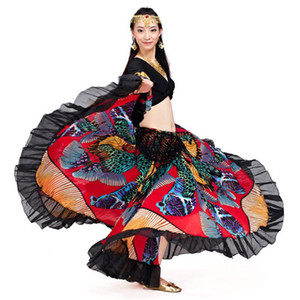 Jupes longues Gypsy Elegent Designer New Mode Trendy 720 Degree Imprimé BellyDance ventre Tribal Maxi Gypsy Dance Vêtements Costume femmes