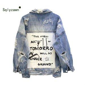 Nueva Pareja Vintage Wear de impresión de letras raída chaqueta de Jean mujeres y hombres otoño rasgado agujero Denim capa femenina bombardero chaquetas Casaco