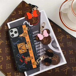 DHL-Leather Keychain Cell Phone Straps Accessories Designer Pendant Vintage Cartoon Fashion Three Colors Car Key Without Box