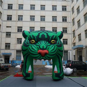 4m dekorativer grüner Show-künstlicher Tiger-Eingang aufblasbarer Tiger Arch Tunnel