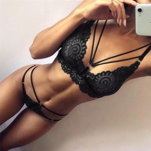 Sexy Set 2pcs Bras Breves conjuntos de ropa interior atractiva del diseñador del vendaje Conjunto cordón de las mujeres