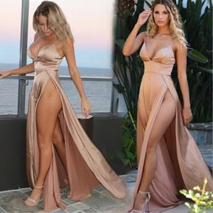 2020 New Sexy sling Open back self-cultivation Evening Dresses Satin fabric V-neck summer Women Formal Gowns longuette Party Dress Side Slit