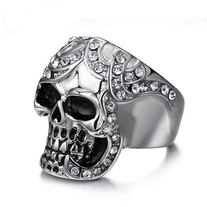 Punk Vintage Stainless Steel Skull Ring for Men Antique Silver Color Zircon Mens Rings Hip Hop Male Jewelry