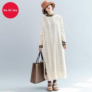تنورة طويلة سترة با ثنائية لان حجم كبير من النساء على مدى الركبة ثوب الخريف الإناث 2020 انقسام جديد المخرم الأدبي سترة اللباس