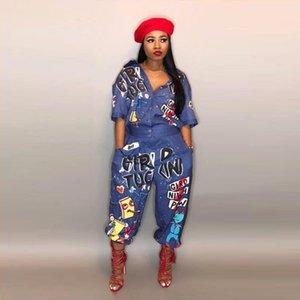 2019 Sonbahar Yeni Stil Marka Moda hip hop tarzı Kadınlar Tulum Özel Harf Yaka Yarım Kol Romper MG600 Turn Down