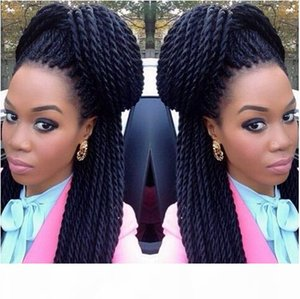 micro braided wigs Fashion Synthetic Hand Braided Wig Crochet Braids Front Lace Wigs 22Inch Senegal Twist Braids Lace Wigs havana twist Hair