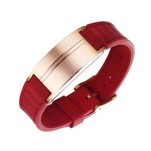 Mens magnetico gioielli Terapia del braccialetto di sanità personalizzato nome inciso Logo ematite Braccialetto in silicone Lettering Wrist Band