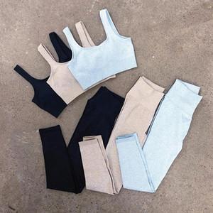 Taille de yoga fortement serrée Ensembles Énergie Sport sans soudure Salle de fitness Sorfait Pantalon Bulifting Statewear Costumes 2pcs Kits 58YK E19