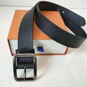 Cintos clássicos para homens Cintos Mulheres Belts cowskin cinto de couro ceinture Moda Big Gold Silver Liso Couro Buckle com caixa