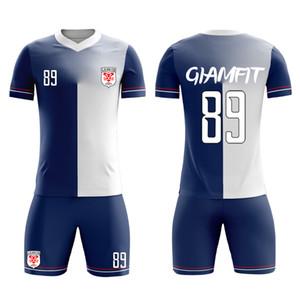 2019 Homens Personalizado Futebol Define Kid Soccer Jersey Equipe DIY Camisola de Futebol Adulto Juventude Futebol Kits de impressão personalizada Qualquer Nome Número