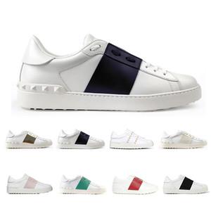 Valentino Chaussures de marque de luxe POUR les hommes femmes rivet Sliver Black Green Pink stripe cuir marche occasionnels chaussure taille 36-46