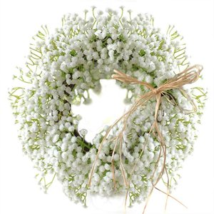 Floral Artificial Babysbreath Wreath Door Hanging Wall Window Decoration Wreath Party Home Holiday Festival Wedding Decor Pet Supplies