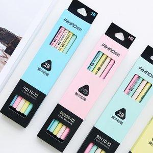 12 adet / lot Yazma Çizim Sanat Kırtasiye Okul Office için 5 Renk Siyah Pastel Kalem Ahşap Standart 2B HB Macaron Kalemler