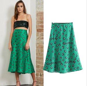 Femmes taille haute Vintage Mode d'été A-ligne Midi Jupes Slim Green Floral Imprimer la plage de vacances Femme Jupe
