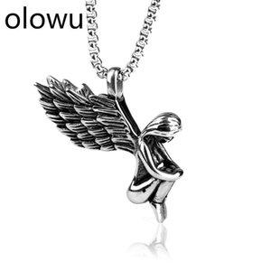 olowu Men's Women's Angel Pendant Neckalce Stainless Steel Angelos Of God Neckalces Gift Idea Fairy Jewelry Silver Tone 50-60cm