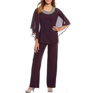 Cheap Beaded Mother Of The Bride Pant Suits Two Pieces Wedding Guest Dress Chiffon Plus Size Long Sleeves Mothers Groom Dresses