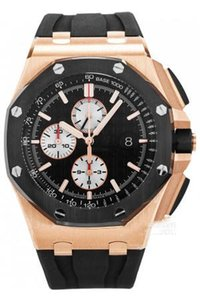 Luxury royal oak offshore series 26401 44mm automatic mechanical watch 18K rose gold black ceramic ring rubber strap stylish waterproof men'