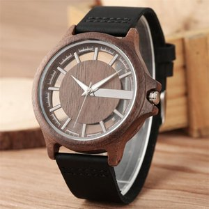 Transparent Hollow Dial Coffee Brown Black Wood Watches Quartz Timepiece Genuine Leather Watchband Creative Men's Watch New 2020