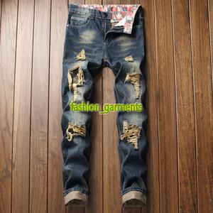 Mode-Männer Loch dünne gerade Jeans Nostalgic Patch-Herren-Denim-Hosen Herren-Stylisten Qualitäts-Art- und Jeans