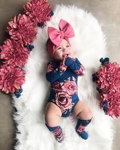 Hot Sale 0-24M infantil do bebê florista Bodysuit Macacão manga comprida Playsuit com polainas Socks 2Pcs outono Roupas Roupas