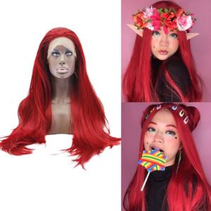 Hot Sexy Red Длинные прямые волосы парики для косплея высокой температуры волокна Синтетические кружева фронт парик для женщин Drag Queen