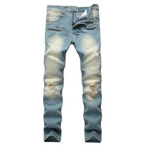 Men's ripped jeans designer long regular trousers creased mid-rise straight pants with holes distressed light jeans free shipping
