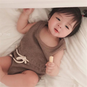 INS Kids Clothes Baby Rompers Unisex Pure Ribbed Cotton Lovely Jumpsuit Infant Summer Sleeveless Oneises Newborn Climb Clothes Bodysuits