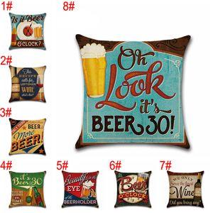 Garrafa Estilo Retro britânico fronha férias Beer Pillow Imprimir Caso Single-sided 45 * 45 centímetros fronha Home Bar Decoração BH3179 TQQ