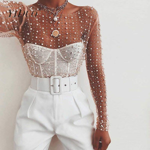 YiDuo Women Transparent O-Neck Long Sleeve Sexy Lace Mesh Shirt Club Party Tops Ladies 2020 Spring Pearl Beading Blouse Blusas MX200407