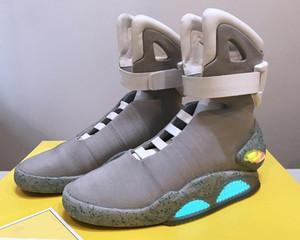 Sapatos Air Mag Back To The Future Marty Mcfly Led Mens Mag Back To The Future Basketball de Iluminação Preto Vermelho Cinza Marty Mcfly '; S Led Boo