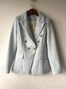 Women's blazer long sleeve double breasted metal lion buttons jacket coat formal office lady fashion blazer feminino clothing J1